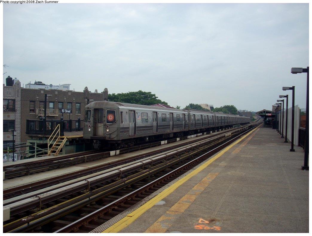 (150k, 1044x788)<br><b>Country:</b> United States<br><b>City:</b> New York<br><b>System:</b> New York City Transit<br><b>Line:</b> BMT West End Line<br><b>Location:</b> 50th Street <br><b>Route:</b> D<br><b>Car:</b> R-68 (Westinghouse-Amrail, 1986-1988)  2666 <br><b>Photo by:</b> Zach Summer<br><b>Date:</b> 7/9/2008<br><b>Viewed (this week/total):</b> 2 / 1374