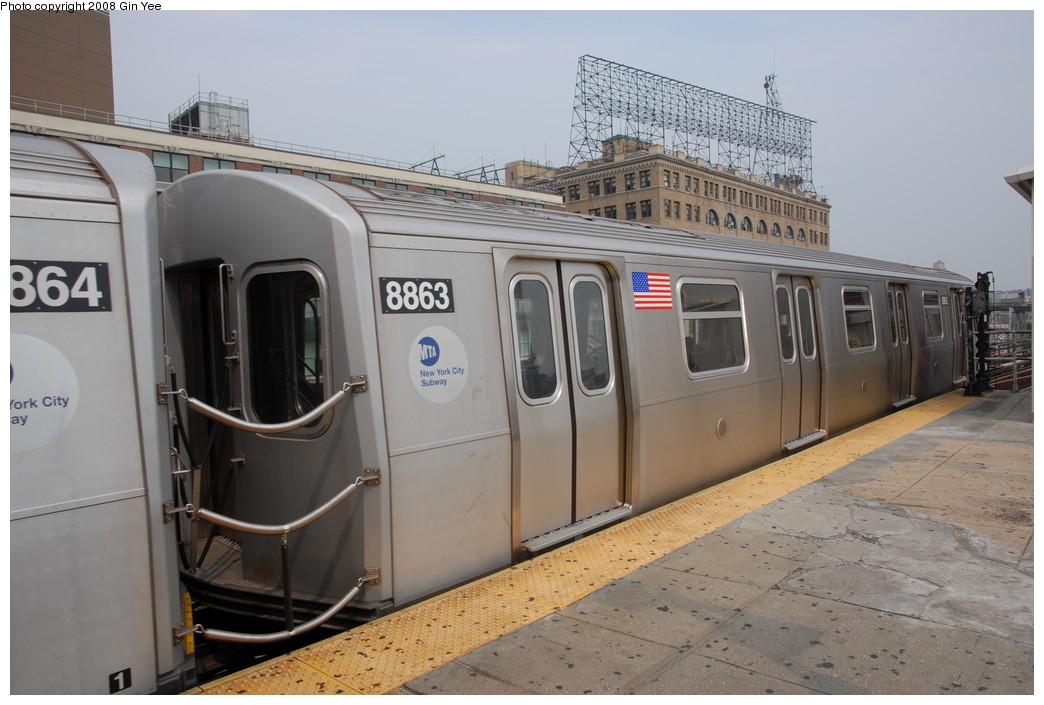 (203k, 1044x705)<br><b>Country:</b> United States<br><b>City:</b> New York<br><b>System:</b> New York City Transit<br><b>Line:</b> BMT Astoria Line<br><b>Location:</b> Queensborough Plaza <br><b>Route:</b> N<br><b>Car:</b> R-160B (Kawasaki, 2005-2008)  8863 <br><b>Photo by:</b> Gin Yee<br><b>Date:</b> 7/30/2008<br><b>Viewed (this week/total):</b> 0 / 1913