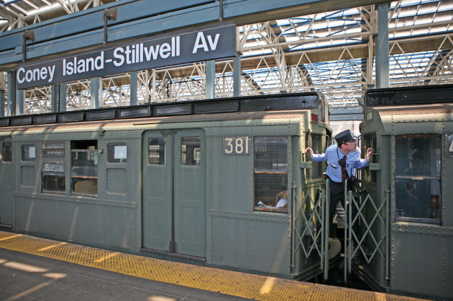 (122k, 640x426)<br><b>Country:</b> United States<br><b>City:</b> New York<br><b>System:</b> New York City Transit<br><b>Location:</b> Coney Island/Stillwell Avenue<br><b>Route:</b> Transit Museum Nostalgia Train<br><b>Car:</b> R-1 (American Car & Foundry, 1930-1931) 381 <br><b>Photo by:</b> Kieran J. O'Hagan<br><b>Date:</b> 7/13/2008<br><b>Notes:</b> Nostalgia train with conductor.<br><b>Viewed (this week/total):</b> 0 / 2558