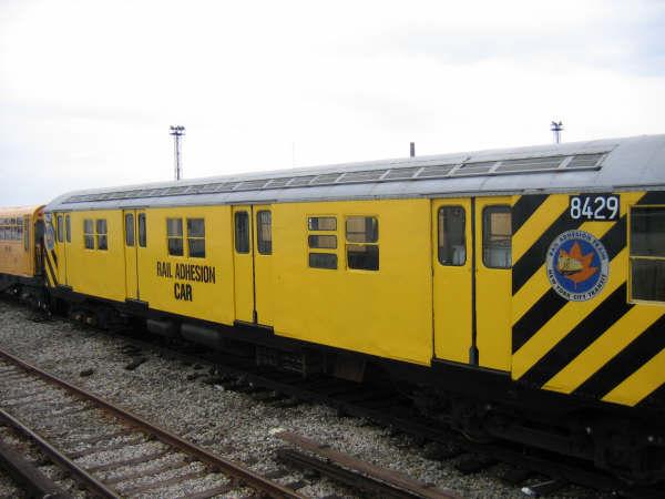 (34k, 600x450)<br><b>Country:</b> United States<br><b>City:</b> New York<br><b>System:</b> New York City Transit<br><b>Location:</b> Coney Island Yard<br><b>Car:</b> Rail Adhesion Train (R-30/R-33 Rebuilds) 8429 <br><b>Photo by:</b> Professor J<br><b>Date:</b> 4/12/2008<br><b>Notes:</b> Rail adhesion train.<br><b>Viewed (this week/total):</b> 0 / 1719