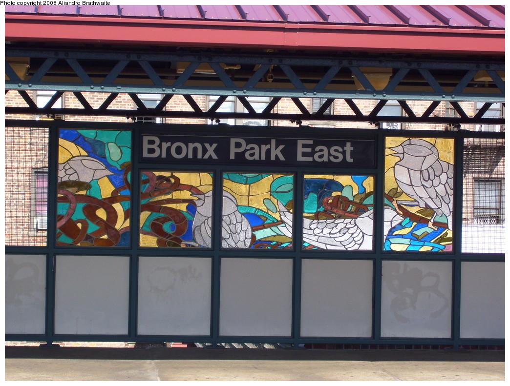 (263k, 1044x791)<br><b>Country:</b> United States<br><b>City:</b> New York<br><b>System:</b> New York City Transit<br><b>Line:</b> IRT White Plains Road Line<br><b>Location:</b> Bronx Park East <br><b>Photo by:</b> Aliandro Brathwaite<br><b>Date:</b> 7/25/2008<br><b>Artwork:</b> <i>B is for Birds in the Bronx</i>, Candida Alvarez (2006).<br><b>Viewed (this week/total):</b> 0 / 1691