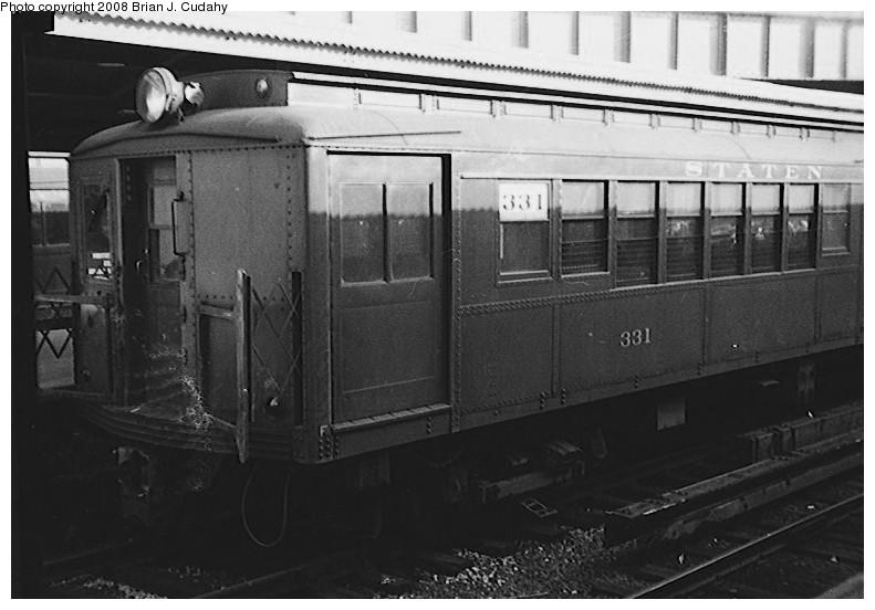 (120k, 791x552)<br><b>Country:</b> United States<br><b>City:</b> New York<br><b>System:</b> New York City Transit<br><b>Line:</b> SIRT<br><b>Location:</b> St. George <br><b>Car:</b> SIRT ME-1 (Motor) 331 <br><b>Photo by:</b> Brian J. Cudahy<br><b>Date:</b> 1956<br><b>Viewed (this week/total):</b> 0 / 1257