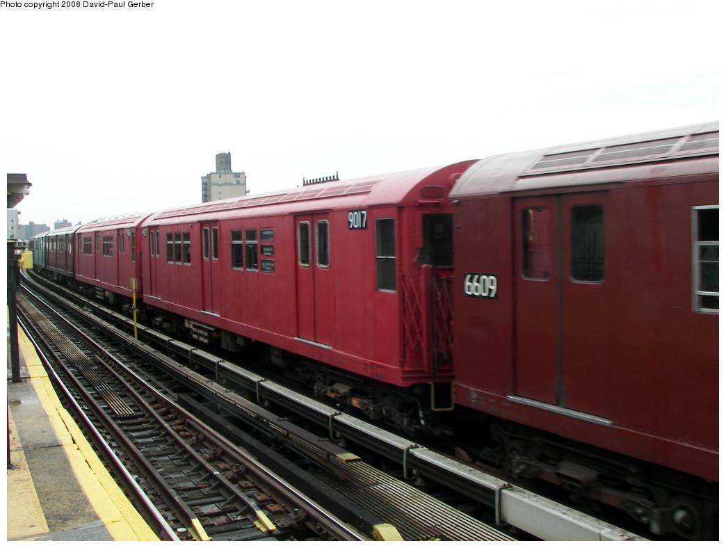 (216k, 1044x788)<br><b>Country:</b> United States<br><b>City:</b> New York<br><b>System:</b> New York City Transit<br><b>Line:</b> IRT West Side Line<br><b>Location:</b> 238th Street <br><b>Route:</b> Transit Museum Nostalgia Train<br><b>Car:</b> R-33 Main Line (St. Louis, 1962-63) 9017 <br><b>Photo by:</b> David-Paul Gerber<br><b>Date:</b> 8/2/2008<br><b>Viewed (this week/total):</b> 0 / 1160