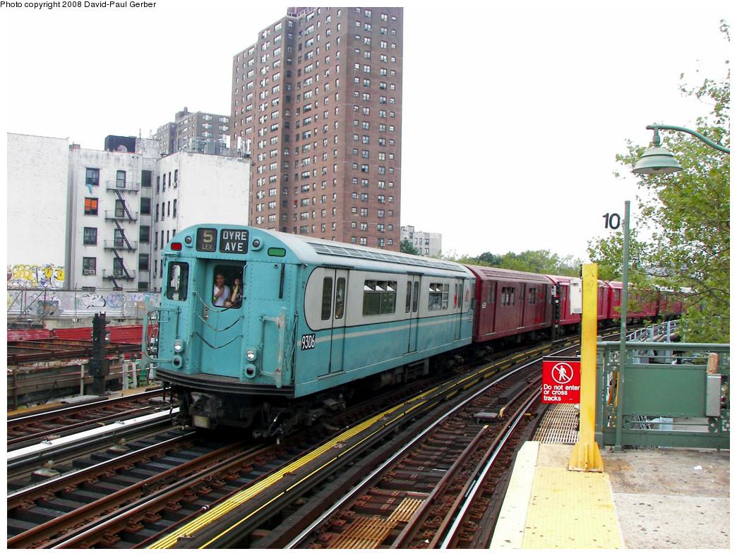 (330k, 1044x788)<br><b>Country:</b> United States<br><b>City:</b> New York<br><b>System:</b> New York City Transit<br><b>Line:</b> IRT White Plains Road Line<br><b>Location:</b> Jackson Avenue <br><b>Route:</b> Transit Museum Nostalgia Train<br><b>Car:</b> R-33 World's Fair (St. Louis, 1963-64) 9306 <br><b>Photo by:</b> David-Paul Gerber<br><b>Date:</b> 8/2/2008<br><b>Viewed (this week/total):</b> 1 / 1657