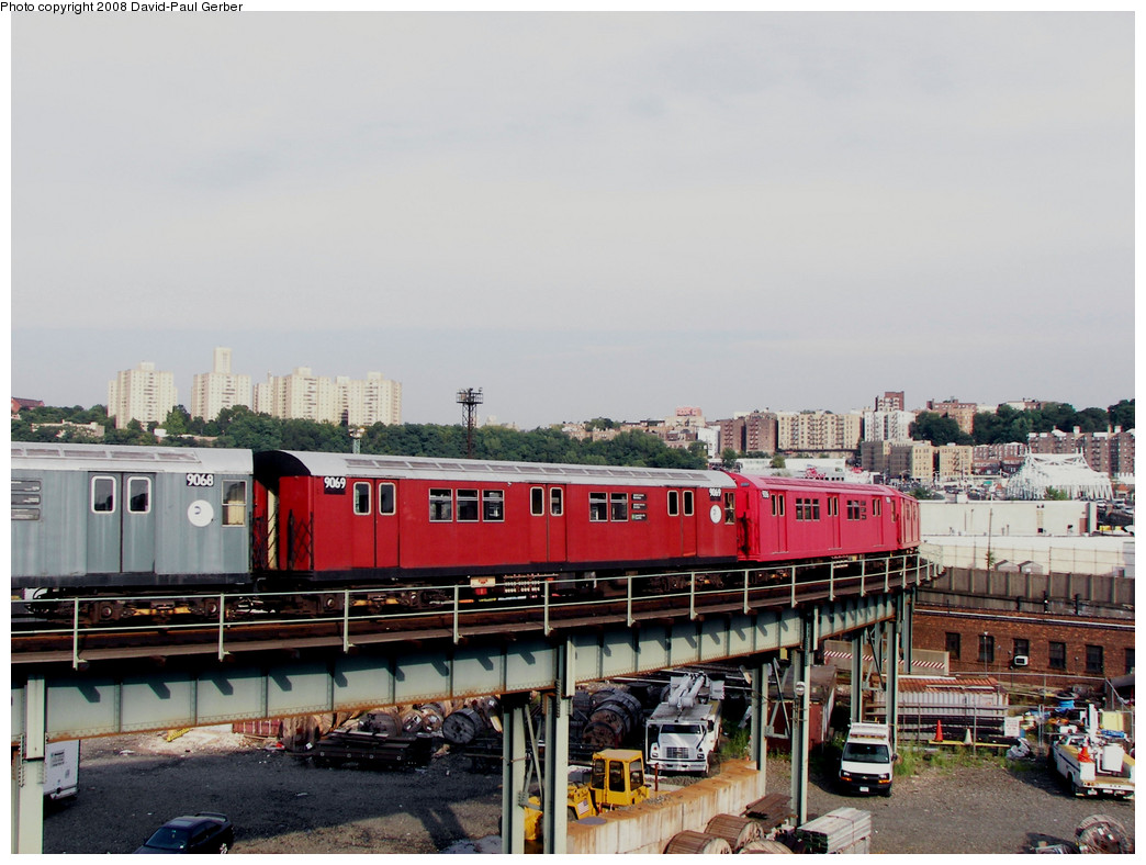 (250k, 1044x788)<br><b>Country:</b> United States<br><b>City:</b> New York<br><b>System:</b> New York City Transit<br><b>Location:</b> 207th Street Yard<br><b>Route:</b> Transit Museum Nostalgia Train<br><b>Car:</b> R-33 Main Line (St. Louis, 1962-63) 9069 <br><b>Photo by:</b> David-Paul Gerber<br><b>Date:</b> 8/2/2008<br><b>Viewed (this week/total):</b> 5 / 1415