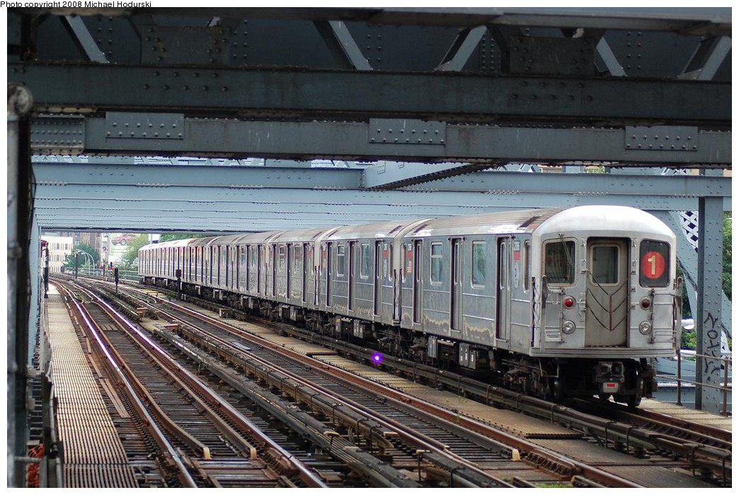(266k, 1044x699)<br><b>Country:</b> United States<br><b>City:</b> New York<br><b>System:</b> New York City Transit<br><b>Line:</b> IRT West Side Line<br><b>Location:</b> Broadway Bridge <br><b>Route:</b> 1<br><b>Car:</b> R-62A (Bombardier, 1984-1987)  2186 <br><b>Photo by:</b> Michael Hodurski<br><b>Date:</b> 6/24/2008<br><b>Viewed (this week/total):</b> 0 / 1566