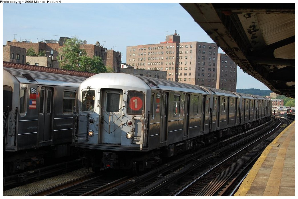 (237k, 1044x699)<br><b>Country:</b> United States<br><b>City:</b> New York<br><b>System:</b> New York City Transit<br><b>Line:</b> IRT West Side Line<br><b>Location:</b> 225th Street <br><b>Route:</b> 1<br><b>Car:</b> R-62A (Bombardier, 1984-1987)  2355 <br><b>Photo by:</b> Michael Hodurski<br><b>Date:</b> 6/24/2008<br><b>Viewed (this week/total):</b> 2 / 1617