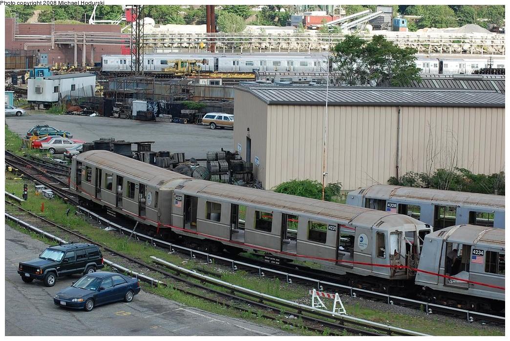 (334k, 1044x699)<br><b>Country:</b> United States<br><b>City:</b> New York<br><b>System:</b> New York City Transit<br><b>Location:</b> 207th Street Yard<br><b>Car:</b> R-40 (St. Louis, 1968)  4231/4232 <br><b>Photo by:</b> Michael Hodurski<br><b>Date:</b> 6/24/2008<br><b>Notes:</b> Scrap<br><b>Viewed (this week/total):</b> 1 / 1583