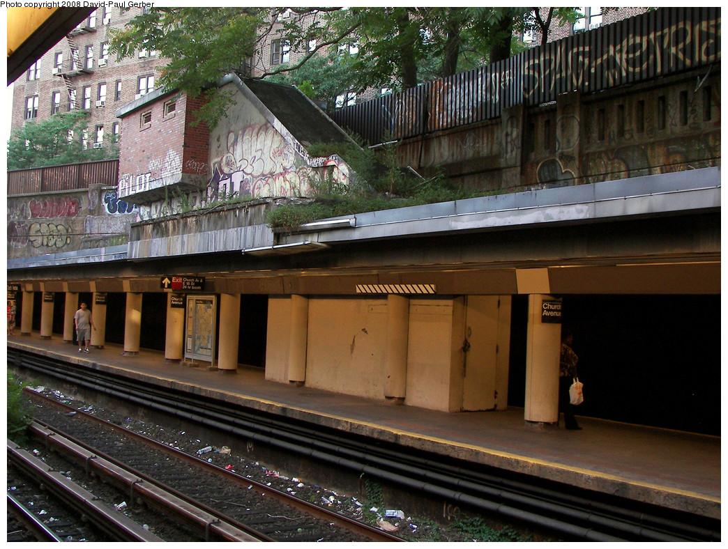 (344k, 1044x788)<br><b>Country:</b> United States<br><b>City:</b> New York<br><b>System:</b> New York City Transit<br><b>Line:</b> BMT Brighton Line<br><b>Location:</b> Church Avenue <br><b>Photo by:</b> David-Paul Gerber<br><b>Date:</b> 8/1/2008<br><b>Notes:</b> Disused exit on southbound platform to East 18th St. between Church & Caton Aves.<br><b>Viewed (this week/total):</b> 1 / 2106