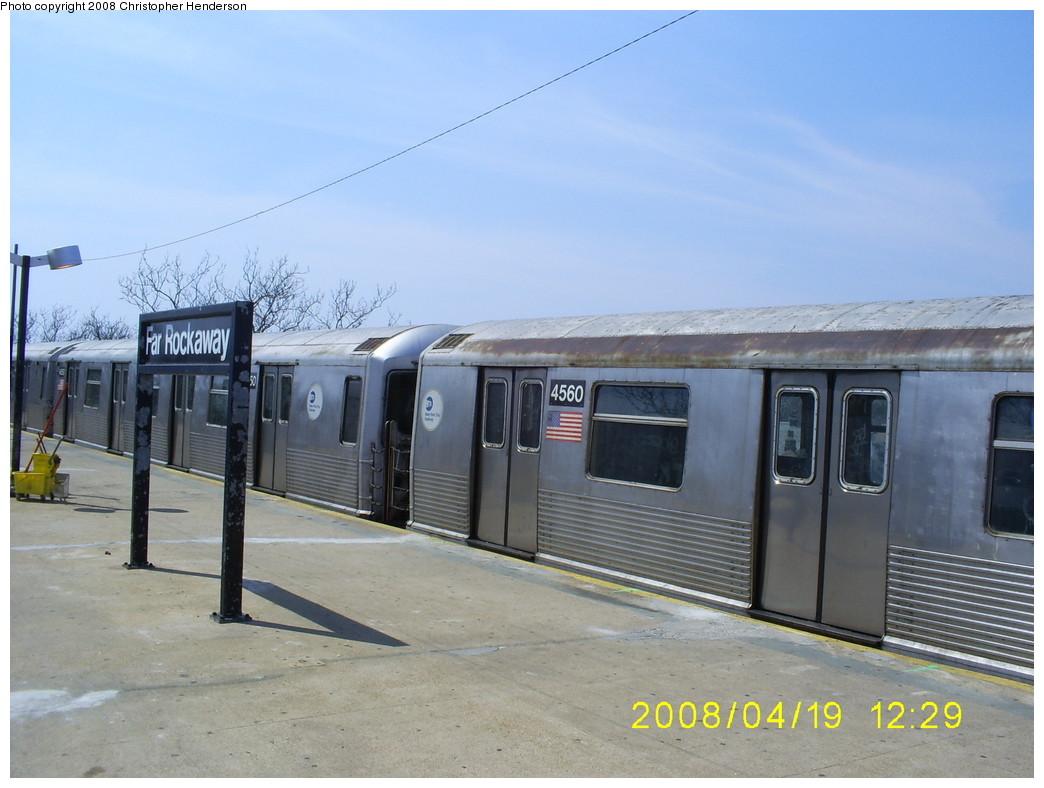 (224k, 1044x788)<br><b>Country:</b> United States<br><b>City:</b> New York<br><b>System:</b> New York City Transit<br><b>Line:</b> IND Rockaway<br><b>Location:</b> Mott Avenue/Far Rockaway <br><b>Route:</b> A<br><b>Car:</b> R-42 (St. Louis, 1969-1970)  4560 <br><b>Photo by:</b> Christopher Henderson<br><b>Date:</b> 4/19/2008<br><b>Viewed (this week/total):</b> 0 / 1465