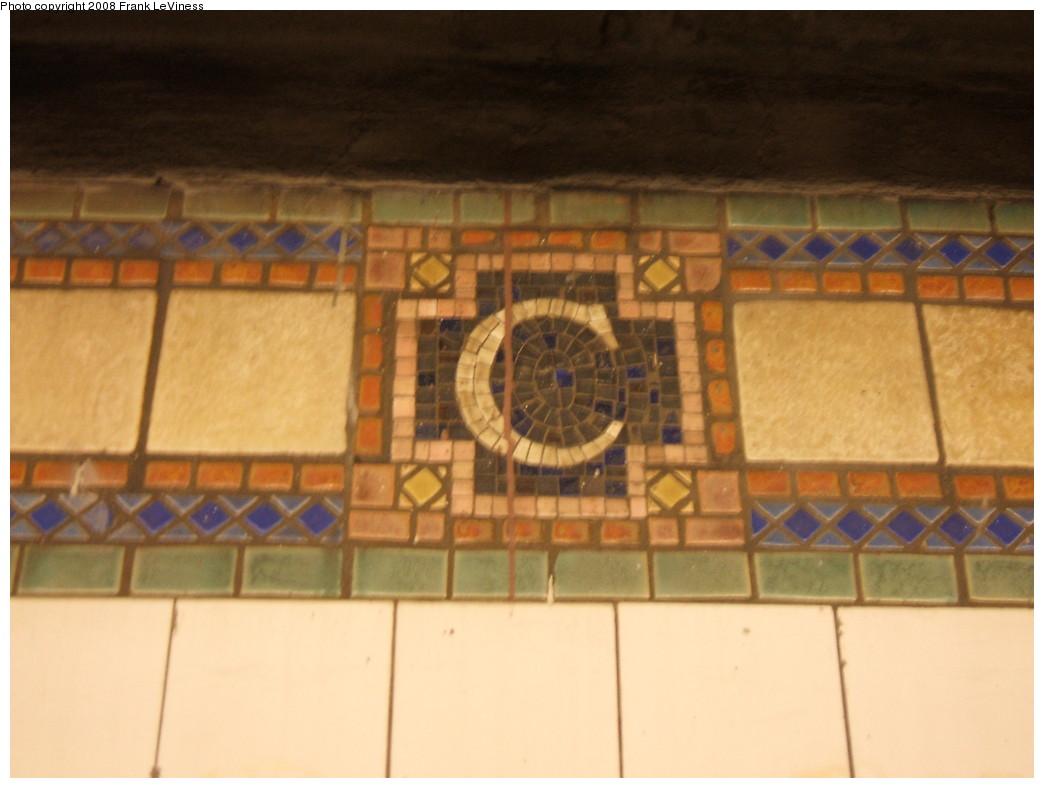 (161k, 1044x788)<br><b>Country:</b> United States<br><b>City:</b> New York<br><b>System:</b> New York City Transit<br><b>Line:</b> IRT Pelham Line<br><b>Location:</b> Cypress Avenue <br><b>Photo by:</b> Frank LeViness<br><b>Date:</b> 7/31/2007<br><b>Notes:</b> C mosaic.<br><b>Viewed (this week/total):</b> 0 / 1098