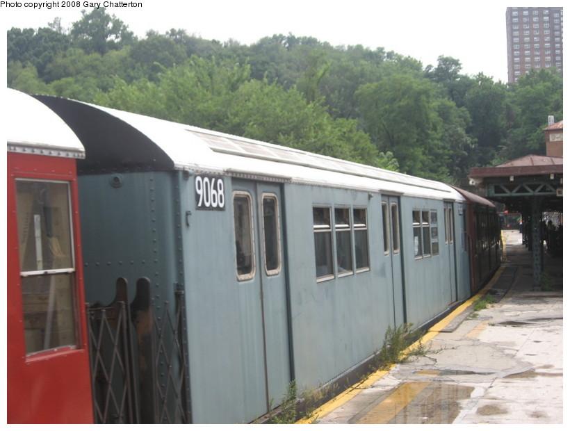 (116k, 820x620)<br><b>Country:</b> United States<br><b>City:</b> New York<br><b>System:</b> New York City Transit<br><b>Line:</b> IRT West Side Line<br><b>Location:</b> Dyckman Street <br><b>Route:</b> Transit Museum Nostalgia Train<br><b>Car:</b> R-33 Main Line (St. Louis, 1962-63) 9068 <br><b>Photo by:</b> Gary Chatterton<br><b>Date:</b> 8/2/2008<br><b>Viewed (this week/total):</b> 0 / 1299