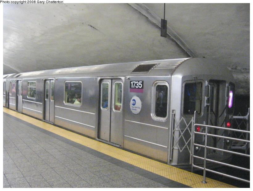 (131k, 820x620)<br><b>Country:</b> United States<br><b>City:</b> New York<br><b>System:</b> New York City Transit<br><b>Line:</b> IRT Flushing Line<br><b>Location:</b> Grand Central <br><b>Route:</b> 7<br><b>Car:</b> R-62A (Bombardier, 1984-1987)  1735 <br><b>Photo by:</b> Gary Chatterton<br><b>Date:</b> 8/2/2008<br><b>Viewed (this week/total):</b> 1 / 1624