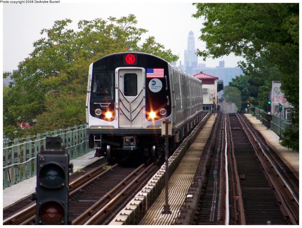 (363k, 1044x788)<br><b>Country:</b> United States<br><b>City:</b> New York<br><b>System:</b> New York City Transit<br><b>Line:</b> BMT Myrtle Avenue Line<br><b>Location:</b> Forest Avenue <br><b>Route:</b> M<br><b>Car:</b> R-160A-1 (Alstom, 2005-2008, 4 car sets)  8505 <br><b>Photo by:</b> DeAndre Burrell<br><b>Date:</b> 5/19/2008<br><b>Viewed (this week/total):</b> 0 / 2724