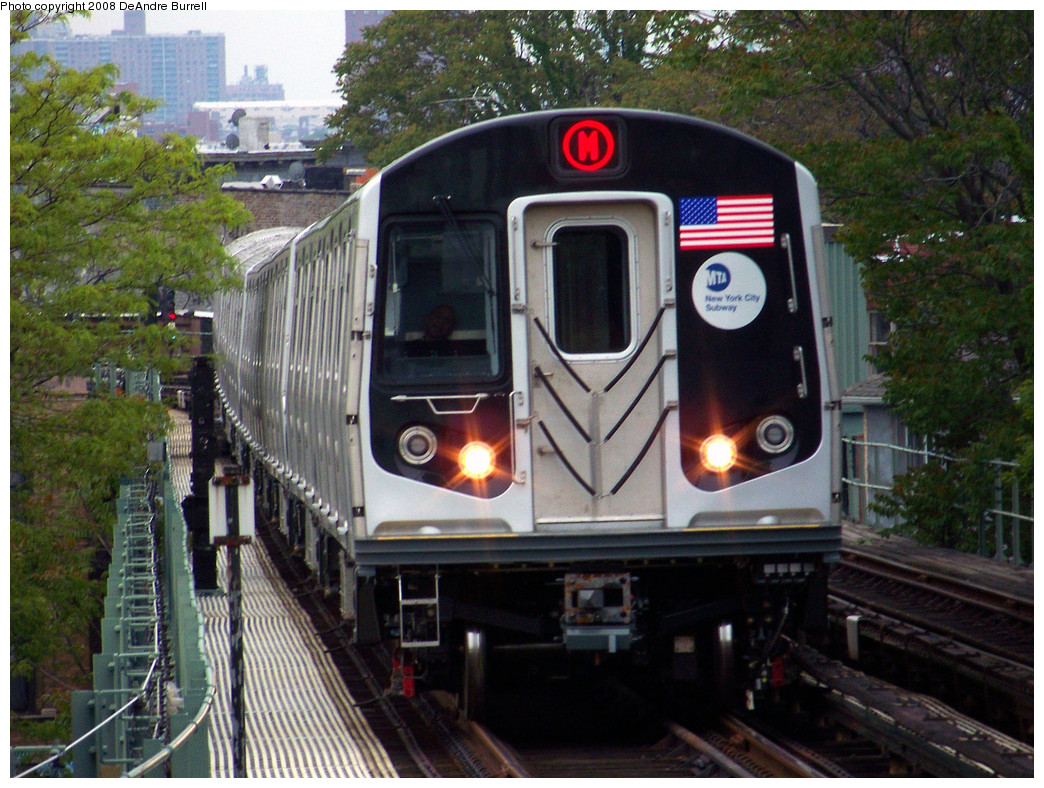 (356k, 1044x788)<br><b>Country:</b> United States<br><b>City:</b> New York<br><b>System:</b> New York City Transit<br><b>Line:</b> BMT Myrtle Avenue Line<br><b>Location:</b> Fresh Pond Road <br><b>Route:</b> M<br><b>Car:</b> R-160A-1 (Alstom, 2005-2008, 4 car sets)  8512 <br><b>Photo by:</b> DeAndre Burrell<br><b>Date:</b> 5/19/2008<br><b>Viewed (this week/total):</b> 5 / 2481