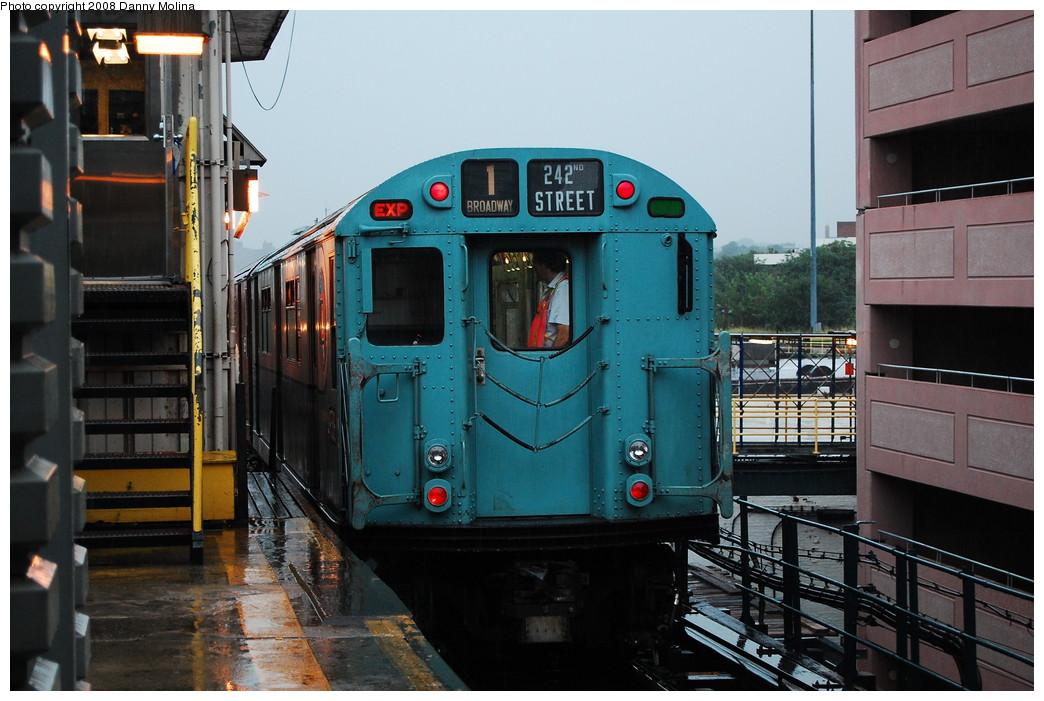 (261k, 1044x701)<br><b>Country:</b> United States<br><b>City:</b> New York<br><b>System:</b> New York City Transit<br><b>Line:</b> IRT West Side Line<br><b>Location:</b> 242nd Street/Van Cortlandt Park <br><b>Route:</b> Transit Museum Nostalgia Train<br><b>Car:</b> R-33 World's Fair (St. Louis, 1963-64) 9306 <br><b>Photo by:</b> Danny Molina<br><b>Date:</b> 8/2/2008<br><b>Viewed (this week/total):</b> 4 / 2939