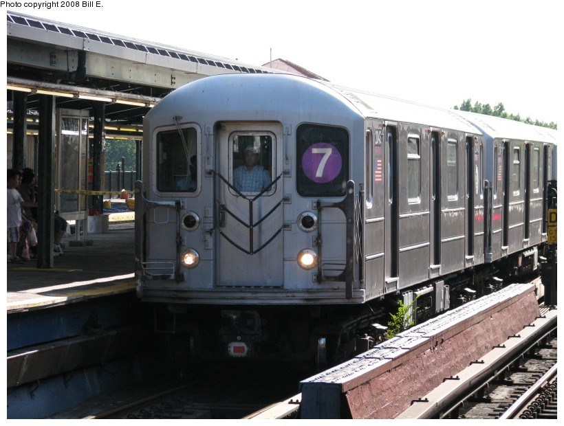 (135k, 820x620)<br><b>Country:</b> United States<br><b>City:</b> New York<br><b>System:</b> New York City Transit<br><b>Line:</b> IRT Flushing Line<br><b>Location:</b> Willets Point/Mets (fmr. Shea Stadium) <br><b>Route:</b> 7<br><b>Car:</b> R-62A (Bombardier, 1984-1987)  2043 <br><b>Photo by:</b> Bill E.<br><b>Date:</b> 8/3/2008<br><b>Viewed (this week/total):</b> 0 / 1312