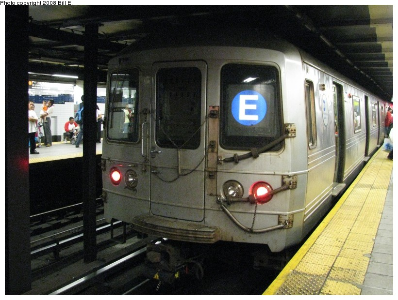 (154k, 820x620)<br><b>Country:</b> United States<br><b>City:</b> New York<br><b>System:</b> New York City Transit<br><b>Line:</b> IND Queens Boulevard Line<br><b>Location:</b> Roosevelt Avenue <br><b>Route:</b> E<br><b>Car:</b> R-46 (Pullman-Standard, 1974-75)  <br><b>Photo by:</b> Bill E.<br><b>Date:</b> 8/3/2008<br><b>Viewed (this week/total):</b> 2 / 3192