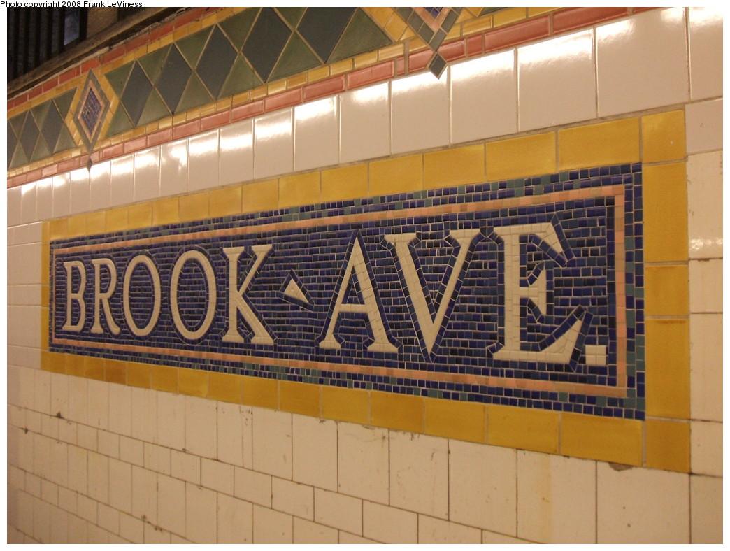 (229k, 1044x788)<br><b>Country:</b> United States<br><b>City:</b> New York<br><b>System:</b> New York City Transit<br><b>Line:</b> IRT Pelham Line<br><b>Location:</b> Brook Avenue <br><b>Photo by:</b> Frank LeViness<br><b>Date:</b> 7/31/2007<br><b>Notes:</b> Name tablet.<br><b>Viewed (this week/total):</b> 0 / 1338