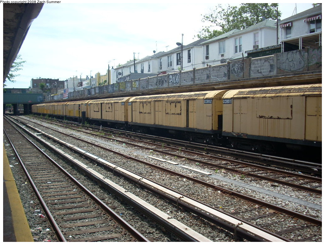 (345k, 1044x788)<br><b>Country:</b> United States<br><b>City:</b> New York<br><b>System:</b> New York City Transit<br><b>Line:</b> BMT Sea Beach Line<br><b>Location:</b> Avenue U <br><b>Route:</b> Work Service<br><b>Car:</b> R-123 Continuous Welded Rail Handler (R17/R21/R22 Rebuilds) CCR01/CCR02 <br><b>Photo by:</b> Zach Summer<br><b>Date:</b> 7/10/2008<br><b>Viewed (this week/total):</b> 0 / 2123