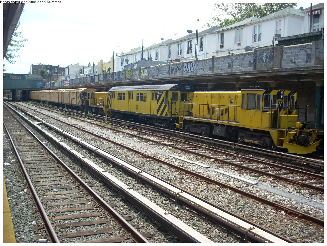 (377k, 1044x788)<br><b>Country:</b> United States<br><b>City:</b> New York<br><b>System:</b> New York City Transit<br><b>Line:</b> BMT Sea Beach Line<br><b>Location:</b> Avenue U <br><b>Route:</b> Work Service<br><b>Car:</b> R-52 Locomotive  77 <br><b>Photo by:</b> Zach Summer<br><b>Date:</b> 7/10/2008<br><b>Viewed (this week/total):</b> 0 / 1265