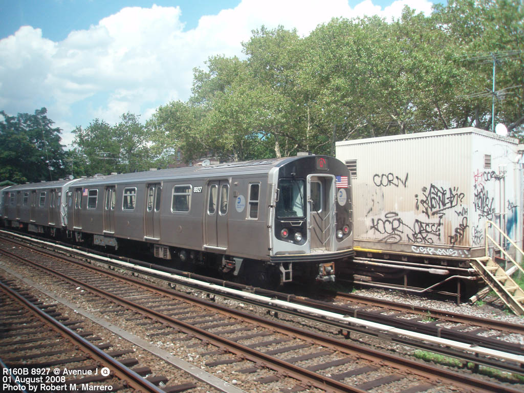 (225k, 1024x768)<br><b>Country:</b> United States<br><b>City:</b> New York<br><b>System:</b> New York City Transit<br><b>Line:</b> BMT Brighton Line<br><b>Location:</b> Avenue J <br><b>Route:</b> Q<br><b>Car:</b> R-160B (Kawasaki, 2005-2008)  8927 <br><b>Photo by:</b> Robert Marrero<br><b>Date:</b> 8/1/2008<br><b>Viewed (this week/total):</b> 1 / 1825