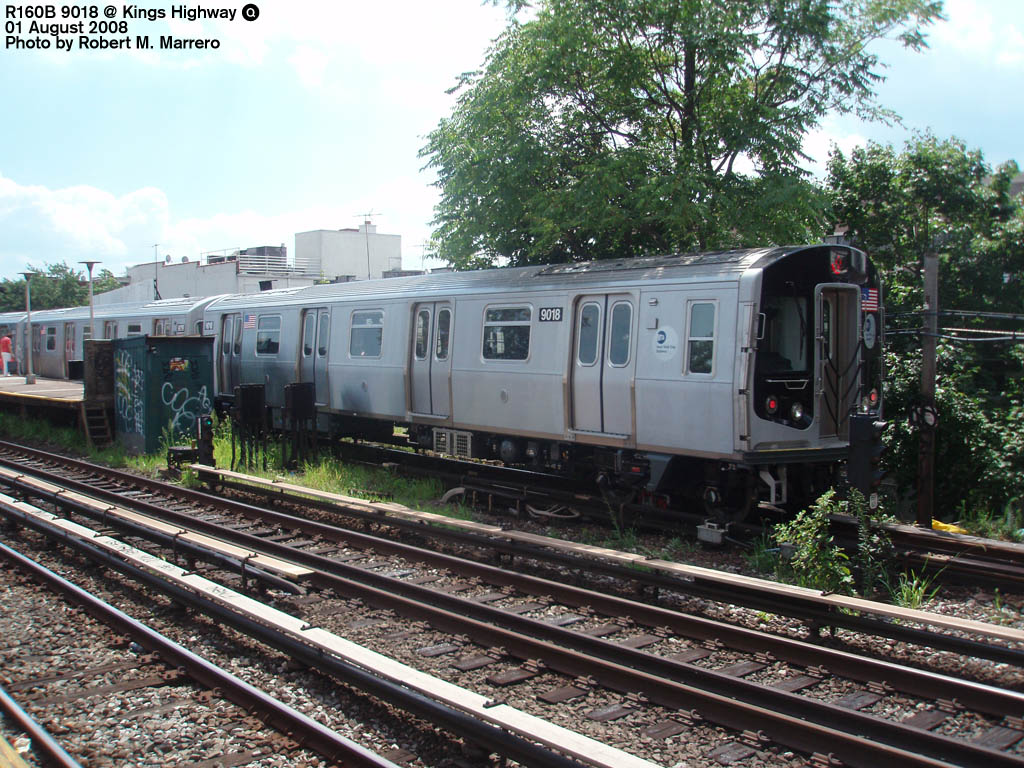 (235k, 1024x768)<br><b>Country:</b> United States<br><b>City:</b> New York<br><b>System:</b> New York City Transit<br><b>Line:</b> BMT Brighton Line<br><b>Location:</b> Kings Highway <br><b>Route:</b> Q<br><b>Car:</b> R-160B (Option 1) (Kawasaki, 2008-2009)  9018 <br><b>Photo by:</b> Robert Marrero<br><b>Date:</b> 8/1/2008<br><b>Viewed (this week/total):</b> 1 / 1964