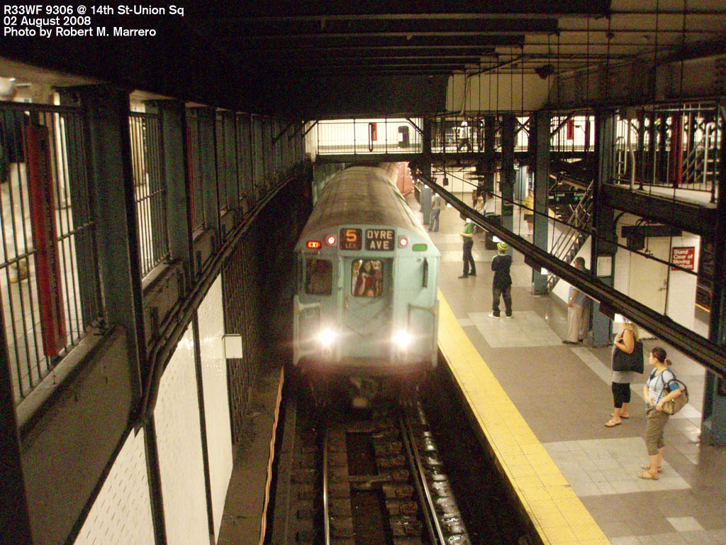 (220k, 1024x768)<br><b>Country:</b> United States<br><b>City:</b> New York<br><b>System:</b> New York City Transit<br><b>Line:</b> IRT East Side Line<br><b>Location:</b> 14th Street/Union Square <br><b>Route:</b> Transit Museum Nostalgia Train<br><b>Car:</b> R-33 World's Fair (St. Louis, 1963-64) 9306 <br><b>Photo by:</b> Robert Marrero<br><b>Date:</b> 8/2/2008<br><b>Viewed (this week/total):</b> 0 / 3379