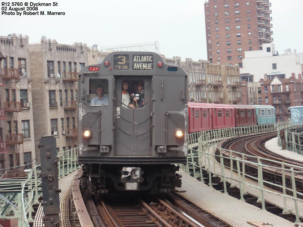 (189k, 1024x768)<br><b>Country:</b> United States<br><b>City:</b> New York<br><b>System:</b> New York City Transit<br><b>Line:</b> IRT West Side Line<br><b>Location:</b> Dyckman Street <br><b>Route:</b> Transit Museum Nostalgia Train<br><b>Car:</b> R-12 (American Car & Foundry, 1948) 5760 <br><b>Photo by:</b> Robert Marrero<br><b>Date:</b> 8/2/2008<br><b>Viewed (this week/total):</b> 1 / 2050