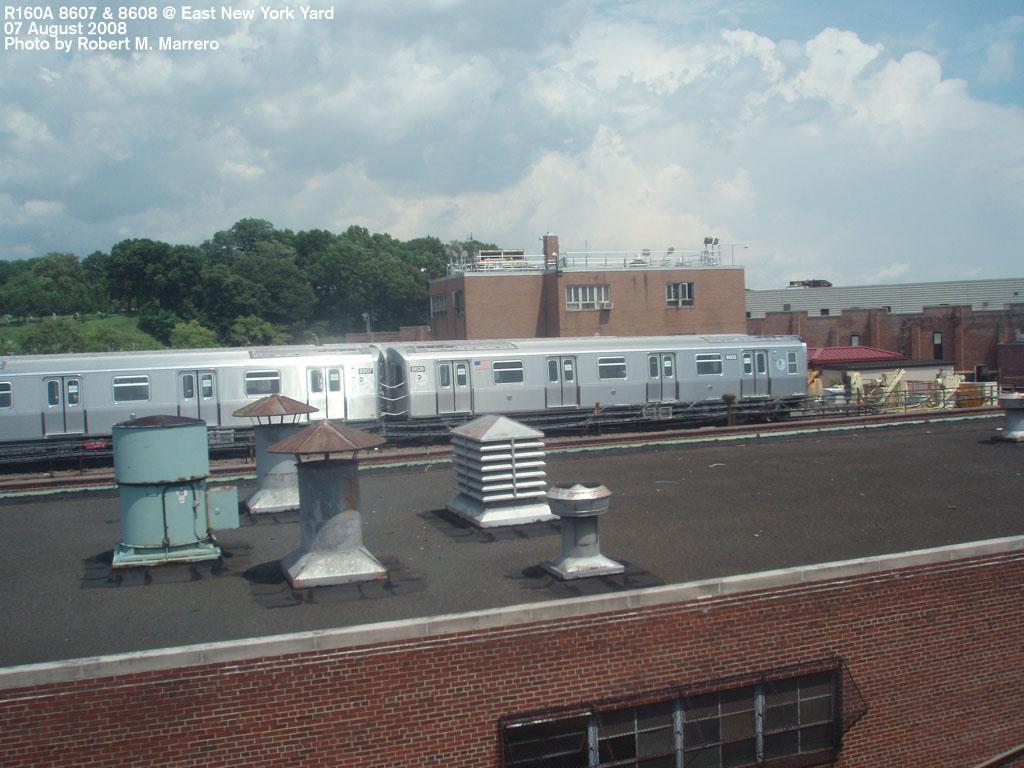 (187k, 1024x768)<br><b>Country:</b> United States<br><b>City:</b> New York<br><b>System:</b> New York City Transit<br><b>Location:</b> East New York Yard/Shops<br><b>Car:</b> R-160A-1 (Alstom, 2005-2008, 4 car sets)  8608 <br><b>Photo by:</b> Robert Marrero<br><b>Date:</b> 8/7/2008<br><b>Viewed (this week/total):</b> 0 / 1805