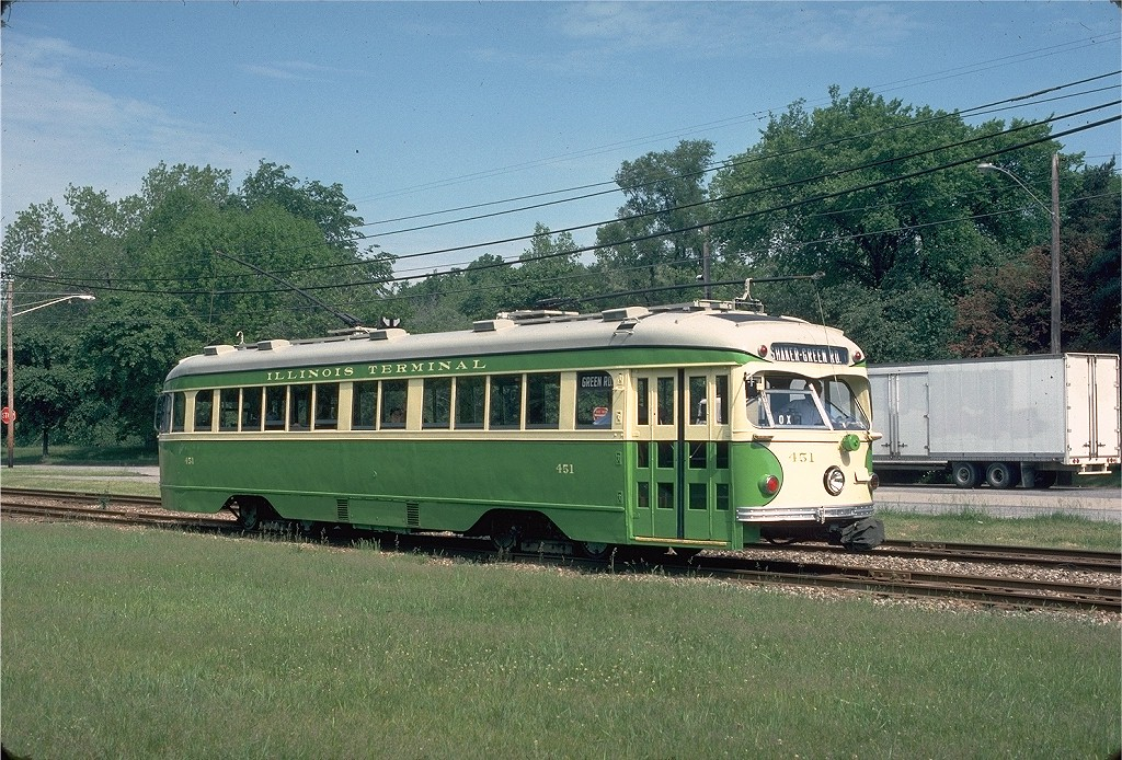 (284k, 1024x694)<br><b>Country:</b> United States<br><b>City:</b> Cleveland, OH<br><b>System:</b> GCRTA (or predecessor)<br><b>Line:</b> GCRTA Blue/Green Line<br><b>Location:</b> Green (Green) <br><b>Car:</b> Illinois Terminal PCC (Double-end) (St. Louis Car Co., 1949) 451 <br><b>Photo by:</b> Gerald H. Landau<br><b>Collection of:</b> Joe Testagrose<br><b>Date:</b> 6/1976<br><b>Viewed (this week/total):</b> 4 / 1173