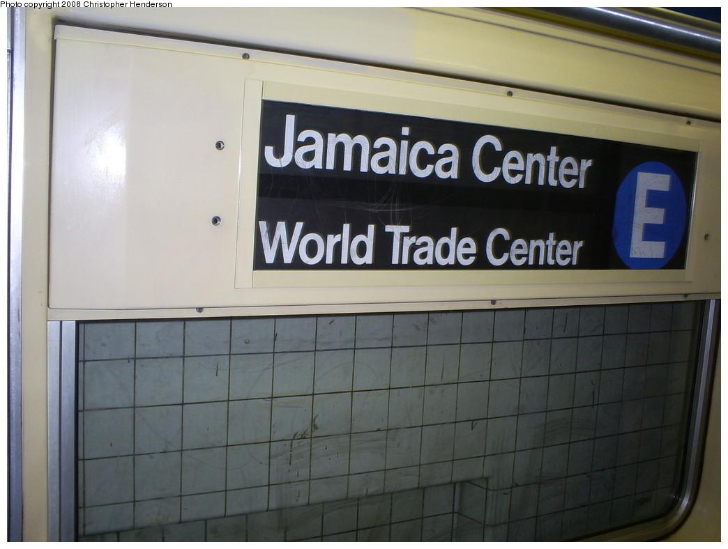 (206k, 1044x788)<br><b>Country:</b> United States<br><b>City:</b> New York<br><b>System:</b> New York City Transit<br><b>Route:</b> E<br><b>Car:</b> R-42 (St. Louis, 1969-1970)  4672 <br><b>Photo by:</b> Christopher Henderson<br><b>Date:</b> 8/4/2008<br><b>Notes:</b> R42 rollsign set for E.<br><b>Viewed (this week/total):</b> 0 / 1145