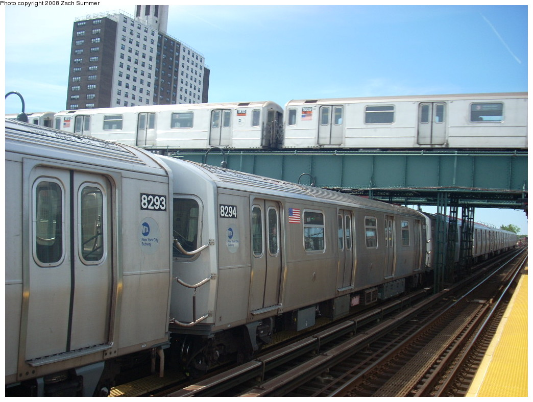 (239k, 1044x788)<br><b>Country:</b> United States<br><b>City:</b> New York<br><b>System:</b> New York City Transit<br><b>Line:</b> BMT Canarsie Line<br><b>Location:</b> Livonia Avenue <br><b>Route:</b> L<br><b>Car:</b> R-143 (Kawasaki, 2001-2002) 8294 <br><b>Photo by:</b> Zach Summer<br><b>Date:</b> 7/10/2008<br><b>Notes:</b> With R62 1509 on 3.<br><b>Viewed (this week/total):</b> 1 / 2157