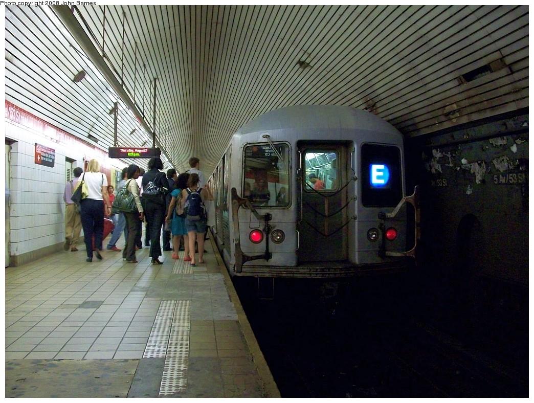 (267k, 1044x788)<br><b>Country:</b> United States<br><b>City:</b> New York<br><b>System:</b> New York City Transit<br><b>Line:</b> IND Queens Boulevard Line<br><b>Location:</b> 5th Avenue/53rd Street <br><b>Route:</b> E<br><b>Car:</b> R-42 (St. Louis, 1969-1970)  4671 <br><b>Photo by:</b> John Barnes<br><b>Date:</b> 8/7/2008<br><b>Viewed (this week/total):</b> 0 / 2481