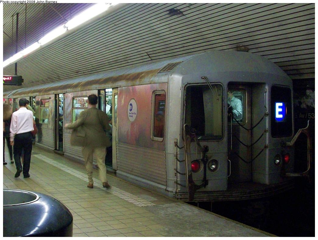 (265k, 1044x790)<br><b>Country:</b> United States<br><b>City:</b> New York<br><b>System:</b> New York City Transit<br><b>Line:</b> IND Queens Boulevard Line<br><b>Location:</b> 5th Avenue/53rd Street <br><b>Route:</b> E<br><b>Car:</b> R-42 (St. Louis, 1969-1970)  4671 <br><b>Photo by:</b> John Barnes<br><b>Date:</b> 8/7/2008<br><b>Viewed (this week/total):</b> 7 / 2427
