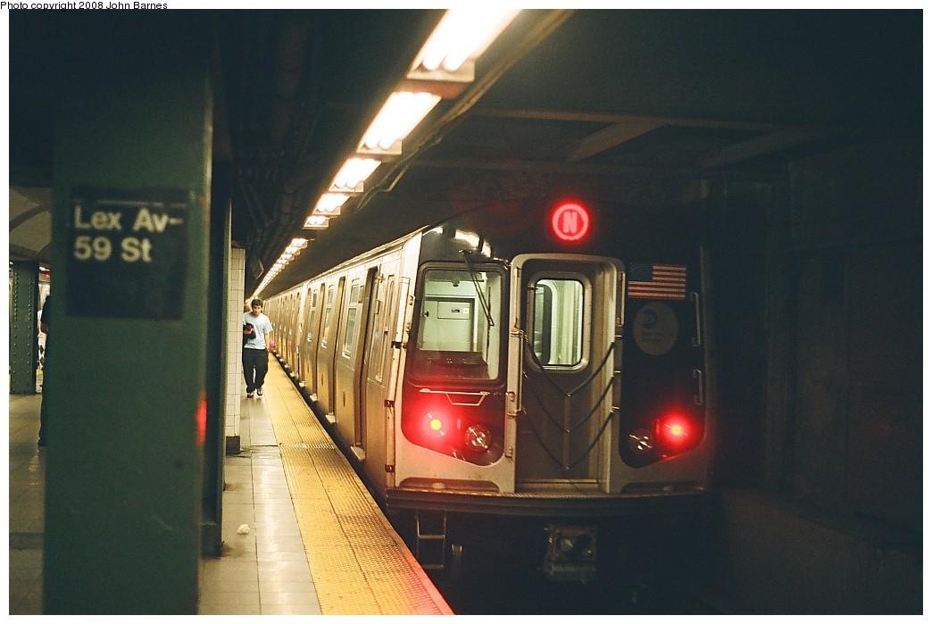 (175k, 1044x699)<br><b>Country:</b> United States<br><b>City:</b> New York<br><b>System:</b> New York City Transit<br><b>Line:</b> BMT Broadway Line<br><b>Location:</b> Lexington Avenue (59th Street) <br><b>Route:</b> N<br><b>Car:</b> R-160B (Kawasaki, 2005-2008)  8878 <br><b>Photo by:</b> John Barnes<br><b>Date:</b> 7/27/2008<br><b>Viewed (this week/total):</b> 2 / 2442