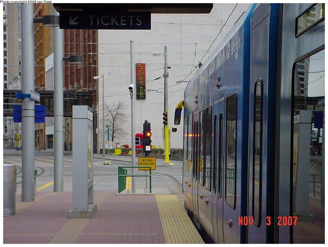 (216k, 1044x788)<br><b>Country:</b> United States<br><b>City:</b> Minneapolis, MN<br><b>System:</b> MNDOT Light Rail Transit<br><b>Line:</b> Hiawatha Line<br><b>Location:</b> <b><u>Warehouse District/Hennepin Ave </b></u><br><b>Photo by:</b> Ian Dale<br><b>Date:</b> 11/3/2007<br><b>Viewed (this week/total):</b> 2 / 942
