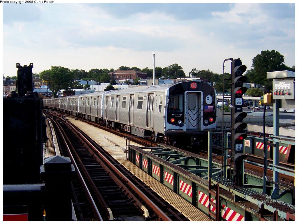 (312k, 1044x788)<br><b>Country:</b> United States<br><b>City:</b> New York<br><b>System:</b> New York City Transit<br><b>Line:</b> BMT Canarsie Line<br><b>Location:</b> Broadway Junction <br><b>Route:</b> L<br><b>Car:</b> R-143 (Kawasaki, 2001-2002) 8157 <br><b>Photo by:</b> Curtis Roach<br><b>Date:</b> 7/25/2008<br><b>Viewed (this week/total):</b> 1 / 1757