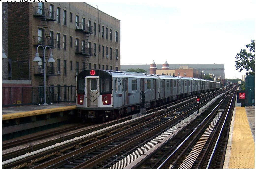 (268k, 1044x695)<br><b>Country:</b> United States<br><b>City:</b> New York<br><b>System:</b> New York City Transit<br><b>Line:</b> IRT Woodlawn Line<br><b>Location:</b> Fordham Road <br><b>Route:</b> 4<br><b>Car:</b> R-142A (Option Order, Kawasaki, 2002-2003)  7695 <br><b>Photo by:</b> Curtis Roach<br><b>Date:</b> 8/2/2008<br><b>Viewed (this week/total):</b> 1 / 1985