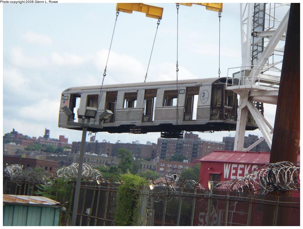 (198k, 1044x788)<br><b>Country:</b> United States<br><b>City:</b> New York<br><b>System:</b> New York City Transit<br><b>Location:</b> 207th Street Yard<br><b>Car:</b> R-40 (St. Louis, 1968)  4351 <br><b>Photo by:</b> Glenn L. Rowe<br><b>Date:</b> 8/11/2008<br><b>Notes:</b> Barge-Scrapping<br><b>Viewed (this week/total):</b> 1 / 1622