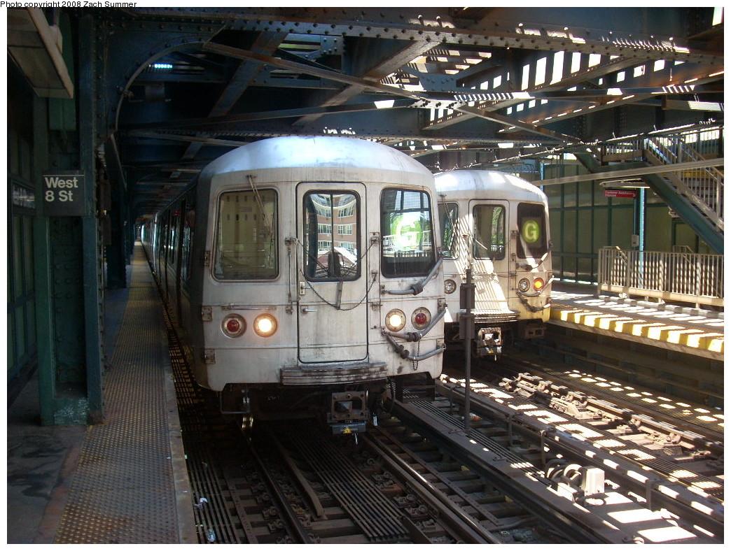 (310k, 1044x788)<br><b>Country:</b> United States<br><b>City:</b> New York<br><b>System:</b> New York City Transit<br><b>Line:</b> BMT Culver Line<br><b>Location:</b> West 8th Street <br><b>Route:</b> G<br><b>Car:</b> R-46 (Pullman-Standard, 1974-75)  <br><b>Photo by:</b> Zach Summer<br><b>Date:</b> 7/13/2008<br><b>Notes:</b> With 5892 on CI-bound track.<br><b>Viewed (this week/total):</b> 0 / 2136