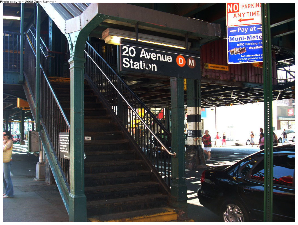 (324k, 1044x788)<br><b>Country:</b> United States<br><b>City:</b> New York<br><b>System:</b> New York City Transit<br><b>Line:</b> BMT West End Line<br><b>Location:</b> 20th Avenue <br><b>Photo by:</b> Zach Summer<br><b>Date:</b> 7/13/2008<br><b>Notes:</b> Station entrance.<br><b>Viewed (this week/total):</b> 1 / 1794