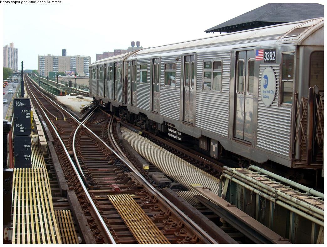 (341k, 1044x788)<br><b>Country:</b> United States<br><b>City:</b> New York<br><b>System:</b> New York City Transit<br><b>Line:</b> BMT Culver Line<br><b>Location:</b> Avenue X <br><b>Route:</b> F put-in<br><b>Car:</b> R-32 (Budd, 1964)  3382 <br><b>Photo by:</b> Zach Summer<br><b>Date:</b> 7/14/2008<br><b>Viewed (this week/total):</b> 1 / 1445