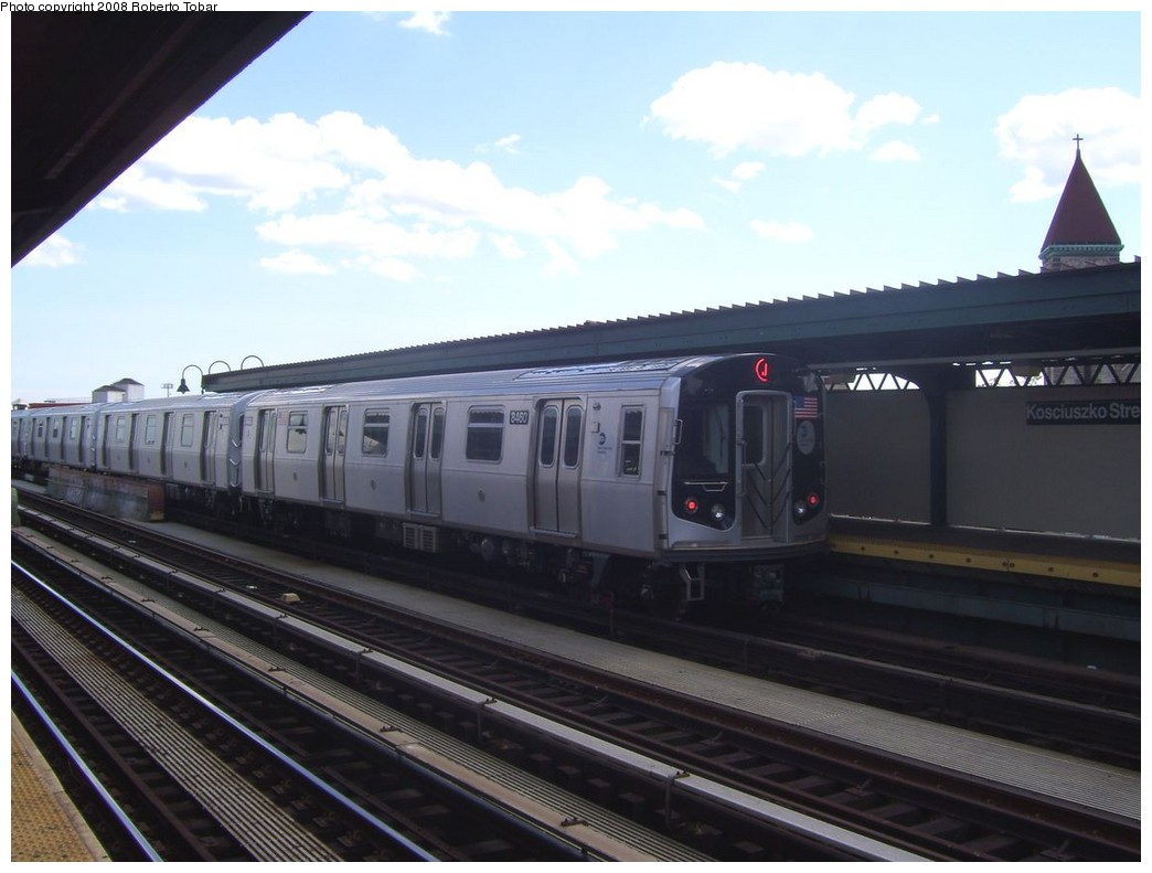 (165k, 1044x791)<br><b>Country:</b> United States<br><b>City:</b> New York<br><b>System:</b> New York City Transit<br><b>Line:</b> BMT Nassau Street/Jamaica Line<br><b>Location:</b> Kosciuszko Street <br><b>Route:</b> J<br><b>Car:</b> R-160A-1 (Alstom, 2005-2008, 4 car sets)  8460 <br><b>Photo by:</b> Roberto C. Tobar<br><b>Date:</b> 8/16/2008<br><b>Viewed (this week/total):</b> 0 / 1625