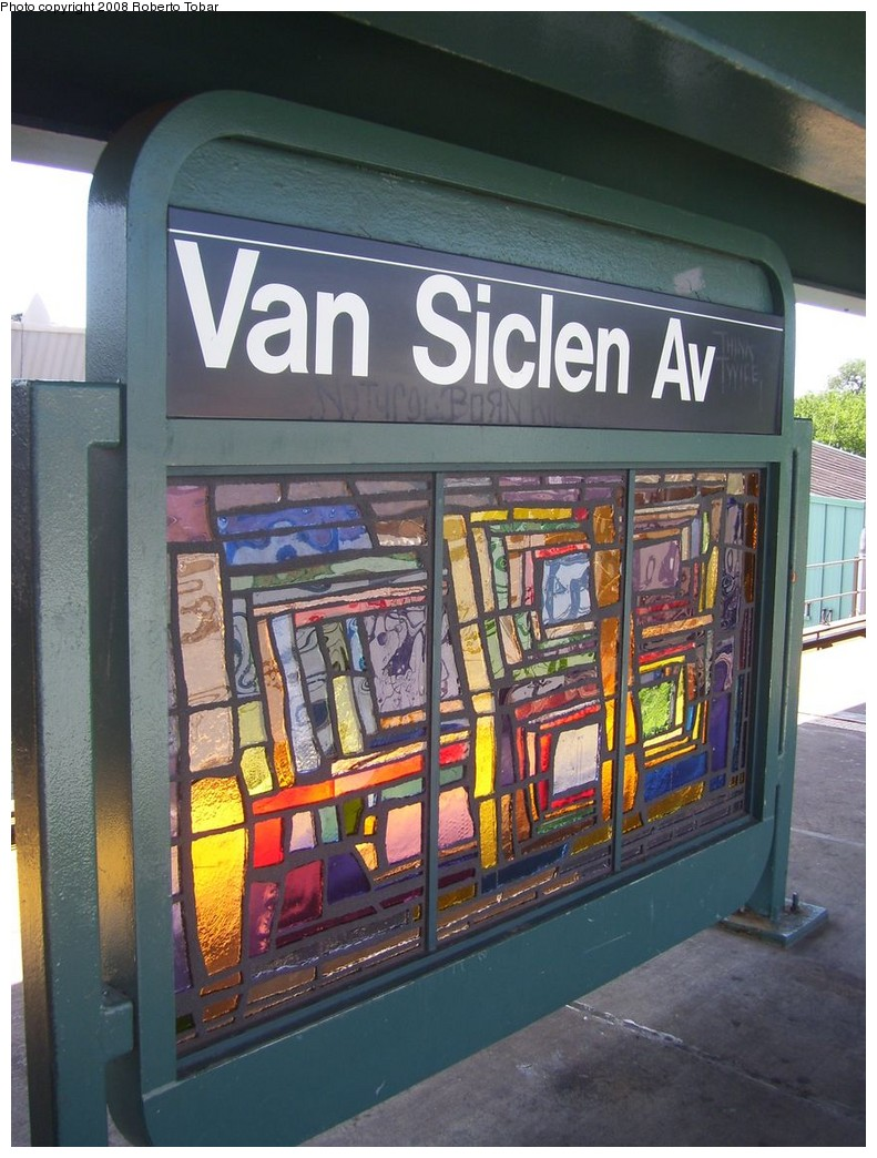 (224k, 791x1044)<br><b>Country:</b> United States<br><b>City:</b> New York<br><b>System:</b> New York City Transit<br><b>Line:</b> BMT Nassau Street/Jamaica Line<br><b>Location:</b> Van Siclen Avenue <br><b>Photo by:</b> Roberto C. Tobar<br><b>Date:</b> 8/16/2008<br><b>Artwork:</b> <i>The View From Here</i>, Barbara Ellmann (2007).<br><b>Viewed (this week/total):</b> 4 / 1273