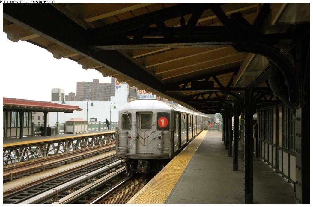 (168k, 1044x692)<br><b>Country:</b> United States<br><b>City:</b> New York<br><b>System:</b> New York City Transit<br><b>Line:</b> IRT West Side Line<br><b>Location:</b> 125th Street <br><b>Route:</b> 1<br><b>Car:</b> R-62A (Bombardier, 1984-1987)   <br><b>Photo by:</b> Richard Panse<br><b>Date:</b> 8/2/2008<br><b>Viewed (this week/total):</b> 0 / 1781