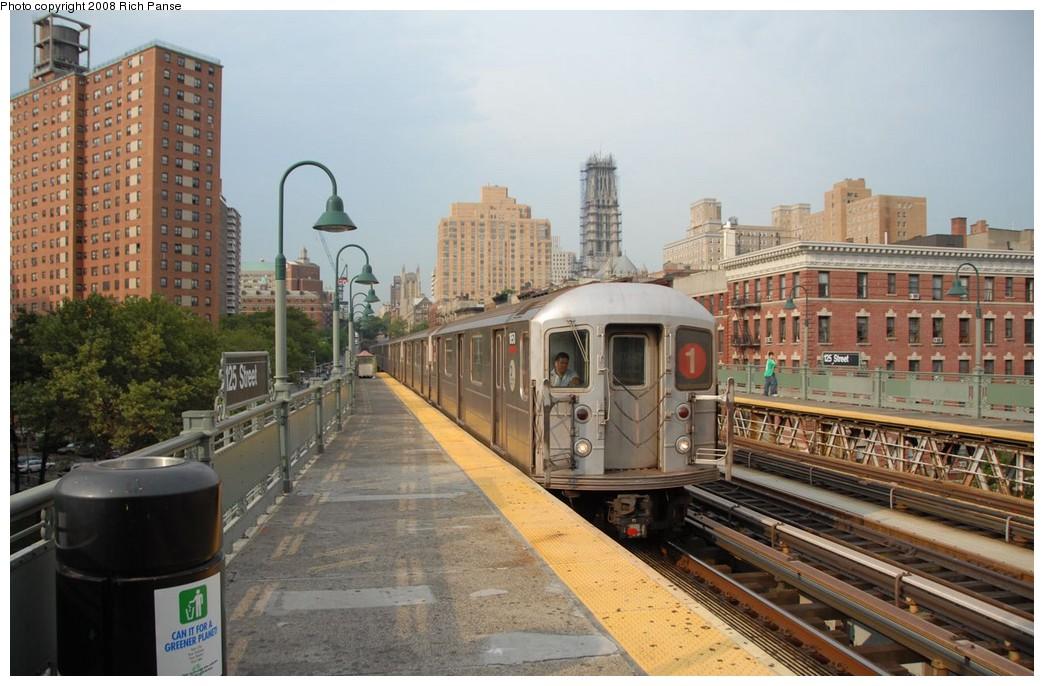 (192k, 1044x686)<br><b>Country:</b> United States<br><b>City:</b> New York<br><b>System:</b> New York City Transit<br><b>Line:</b> IRT West Side Line<br><b>Location:</b> 125th Street <br><b>Route:</b> 1<br><b>Car:</b> R-62A (Bombardier, 1984-1987)  1651 <br><b>Photo by:</b> Richard Panse<br><b>Date:</b> 8/2/2008<br><b>Viewed (this week/total):</b> 0 / 1569