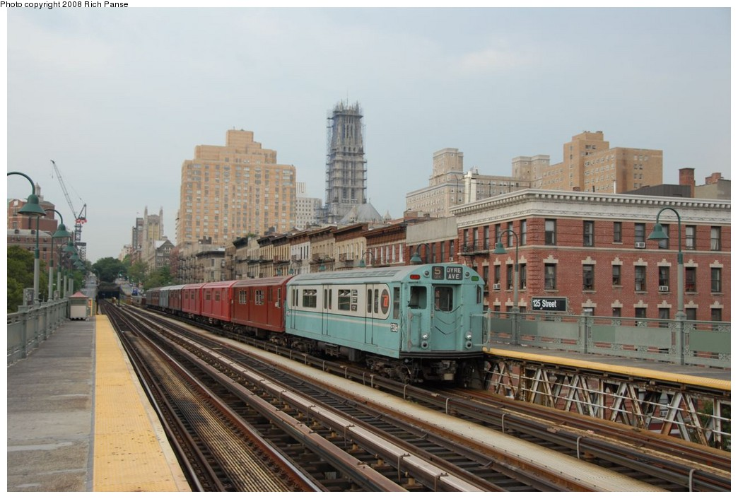 (202k, 1044x706)<br><b>Country:</b> United States<br><b>City:</b> New York<br><b>System:</b> New York City Transit<br><b>Line:</b> IRT West Side Line<br><b>Location:</b> 125th Street <br><b>Route:</b> Transit Museum Nostalgia Train<br><b>Car:</b> R-33 World's Fair (St. Louis, 1963-64) 9306 <br><b>Photo by:</b> Richard Panse<br><b>Date:</b> 8/2/2008<br><b>Viewed (this week/total):</b> 1 / 1491
