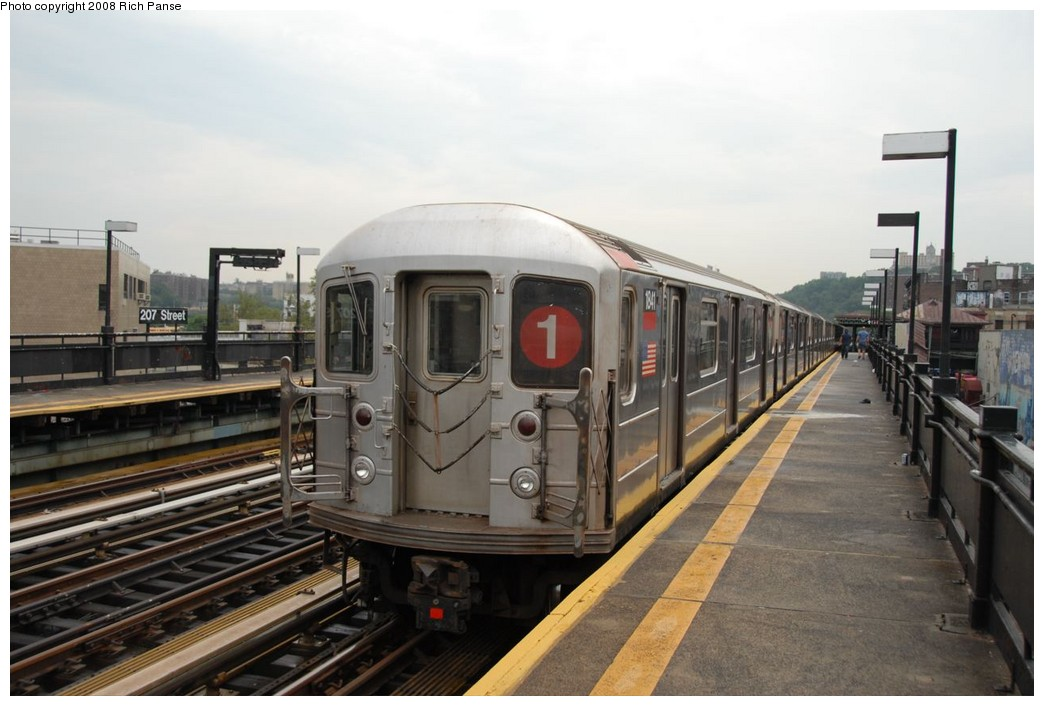 (186k, 1044x706)<br><b>Country:</b> United States<br><b>City:</b> New York<br><b>System:</b> New York City Transit<br><b>Line:</b> IRT West Side Line<br><b>Location:</b> 207th Street <br><b>Route:</b> 1<br><b>Car:</b> R-62A (Bombardier, 1984-1987)  1841 <br><b>Photo by:</b> Richard Panse<br><b>Date:</b> 8/2/2008<br><b>Viewed (this week/total):</b> 1 / 2105