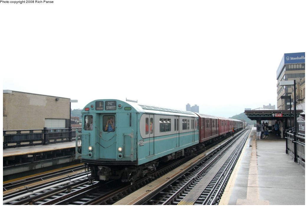 (127k, 1044x706)<br><b>Country:</b> United States<br><b>City:</b> New York<br><b>System:</b> New York City Transit<br><b>Line:</b> IRT West Side Line<br><b>Location:</b> 215th Street <br><b>Route:</b> Transit Museum Nostalgia Train<br><b>Car:</b> R-33 World's Fair (St. Louis, 1963-64) 9306 <br><b>Photo by:</b> Richard Panse<br><b>Date:</b> 8/2/2008<br><b>Viewed (this week/total):</b> 0 / 1319
